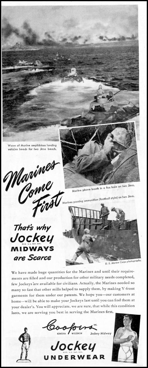JOCKEY MIDWAYS MENS' UNDERWEAR SATURDAY EVENING POST 05/19/1945 p. 37