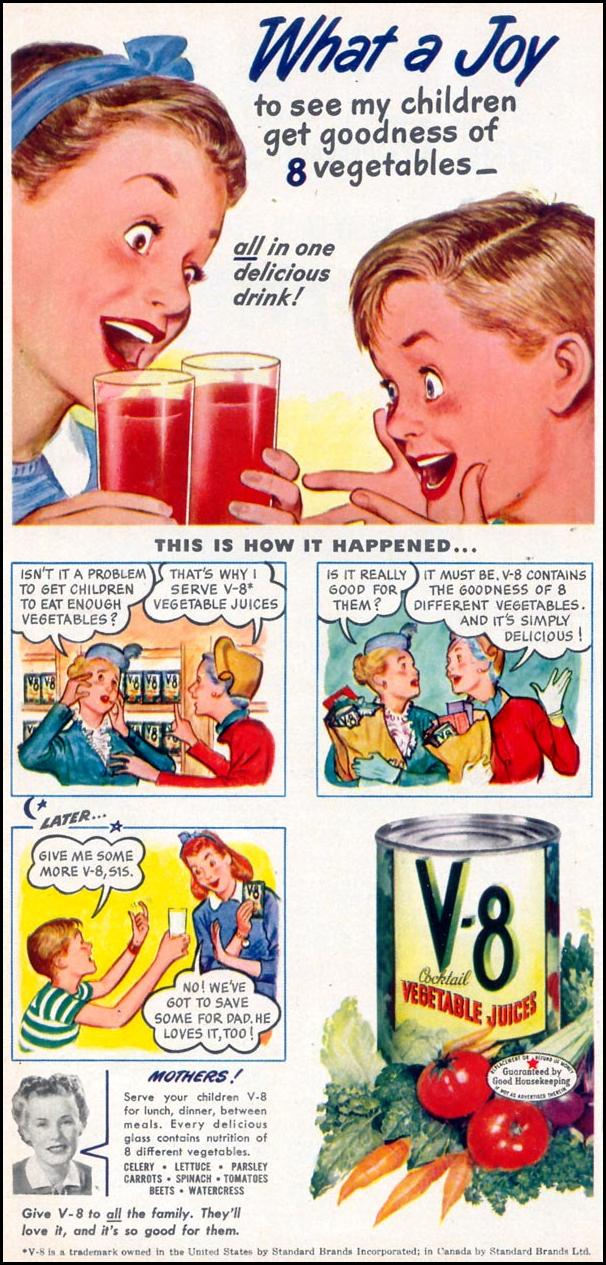 V-8 VEGETABLE JUICE COCKTAIL WOMAN'S DAY 03/01/1948 p. 18