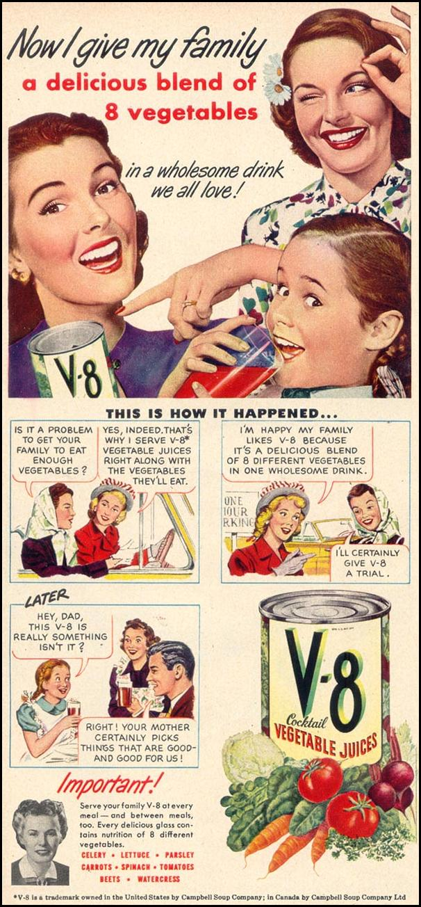 V-8 VEGETABLE JUICE COCKTAIL WOMAN'S DAY 08/01/1948 p. 56