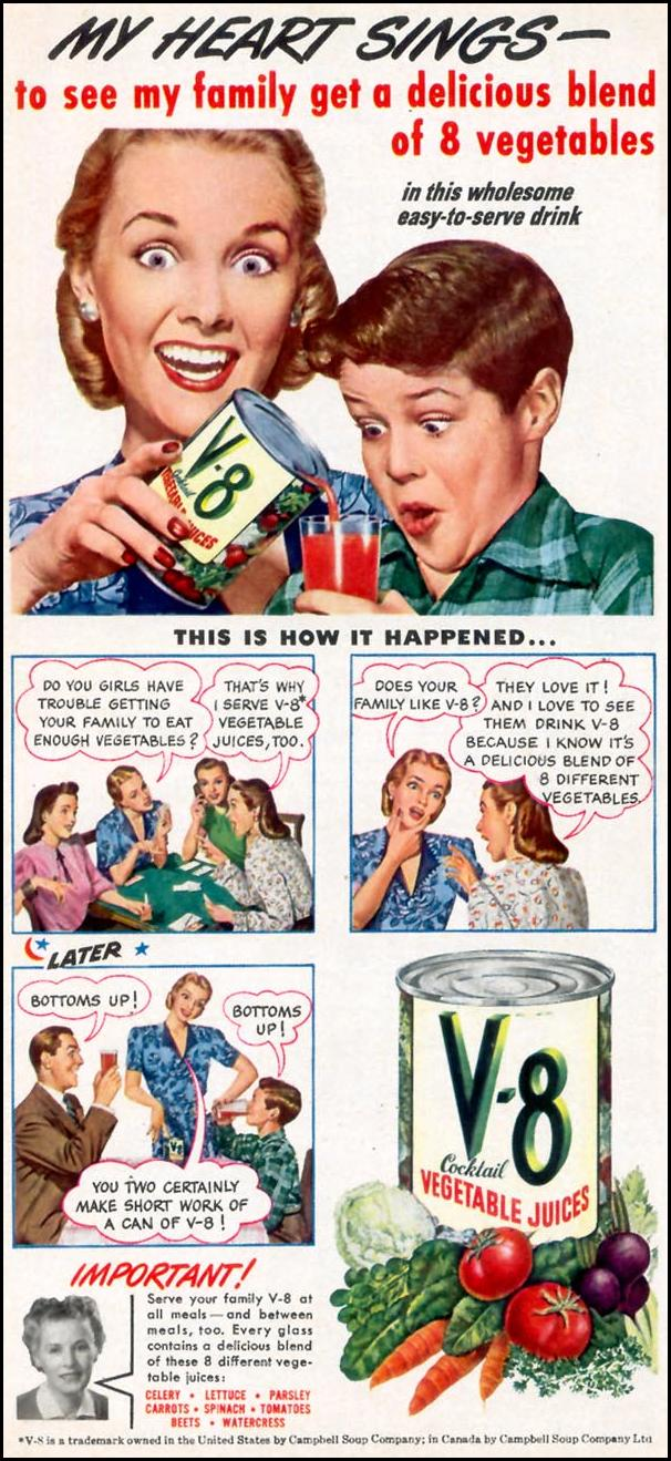 V-8 VEGETABLE JUICE COCKTAIL WOMAN'S DAY 09/01/1948 p. 18
