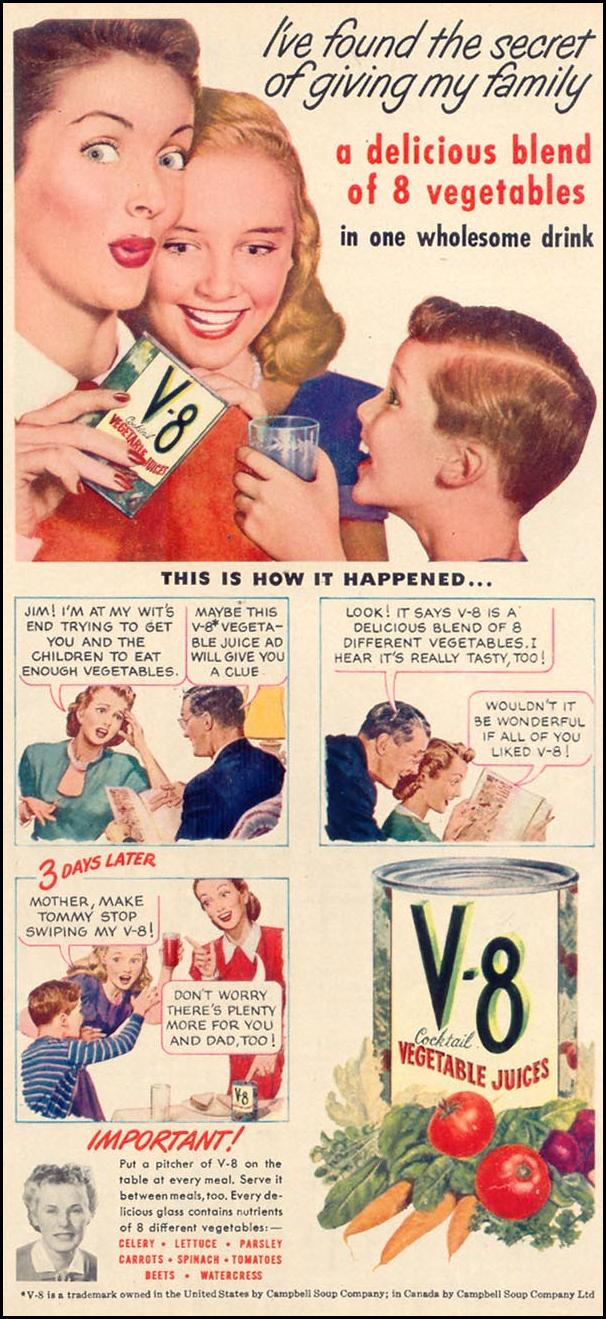 V-8 VEGETABLE JUICE COCKTAIL WOMAN'S DAY 10/01/1948 p. 31