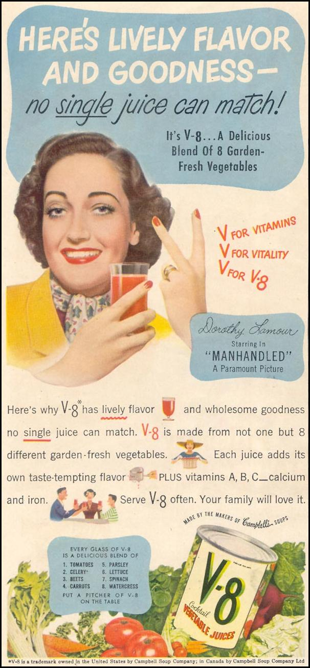 V-8 VEGETABLE JUICE COCKTAIL GOOD HOUSEKEEPING 07/01/1949 p. 22