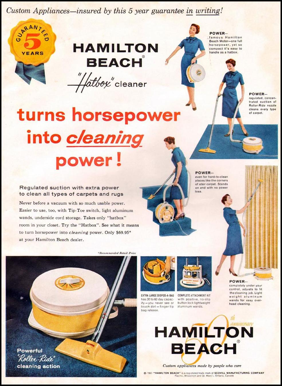 HAMILTON BEACH HATBOX VACUUM CLEANING BETTER HOMES AND GARDENS 03/01/1960 INSIDE BACK