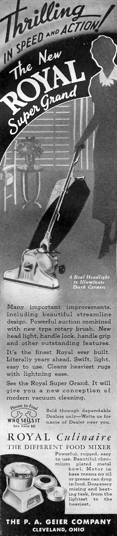 ROYAL SUPER GRAND VACUUM CLEANERS GOOD HOUSEKEEPING 04/01/1936 p. 244