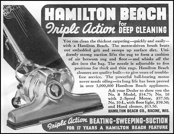 HAMILTON BEACH TRIPLE ACTION VACUUM CLEANERS GOOD HOUSEKEEPING 04/01/1936 p. 256