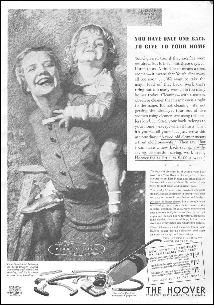 HOOVER VACUUM CLEANERS GOOD HOUSEKEEPING 04/01/1936 p. 269