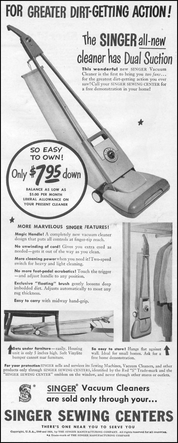 SINGER VACUUM CLEANERS LIFE 06/05/1950 p. 125