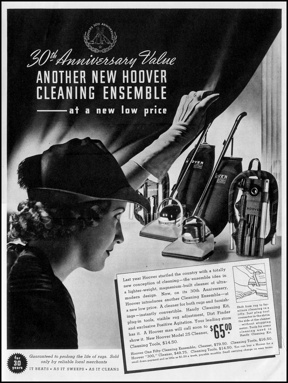 HOOVER VACUUM CLEANERS LIFE 10/04/1937 p. 135