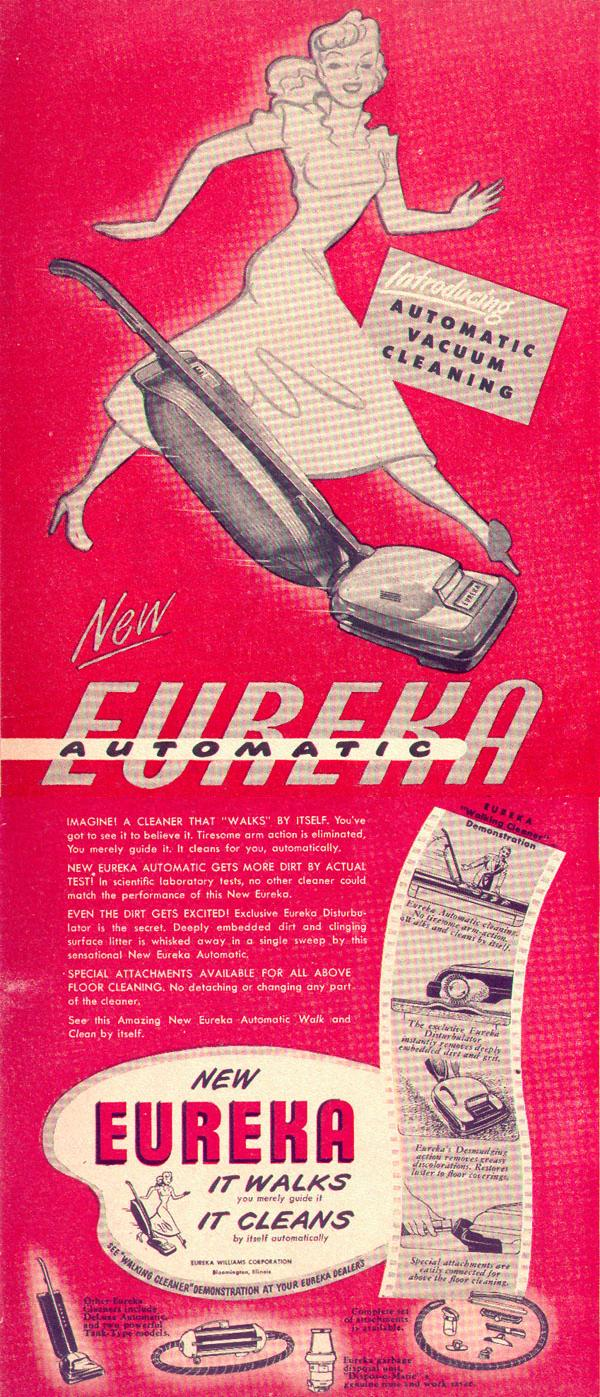 EUREKA AUTOMATIC WALKING VACUUM CLEANER LIFE 10/11/1948 p. 8