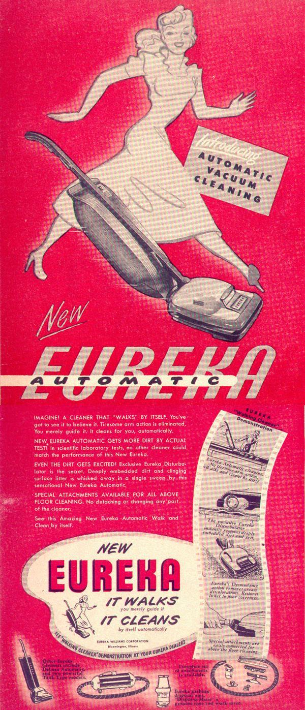 EUREKA AUTOMATIC WALKING VACUUM CLEANER LIFE 10/11/1948 p. 8
