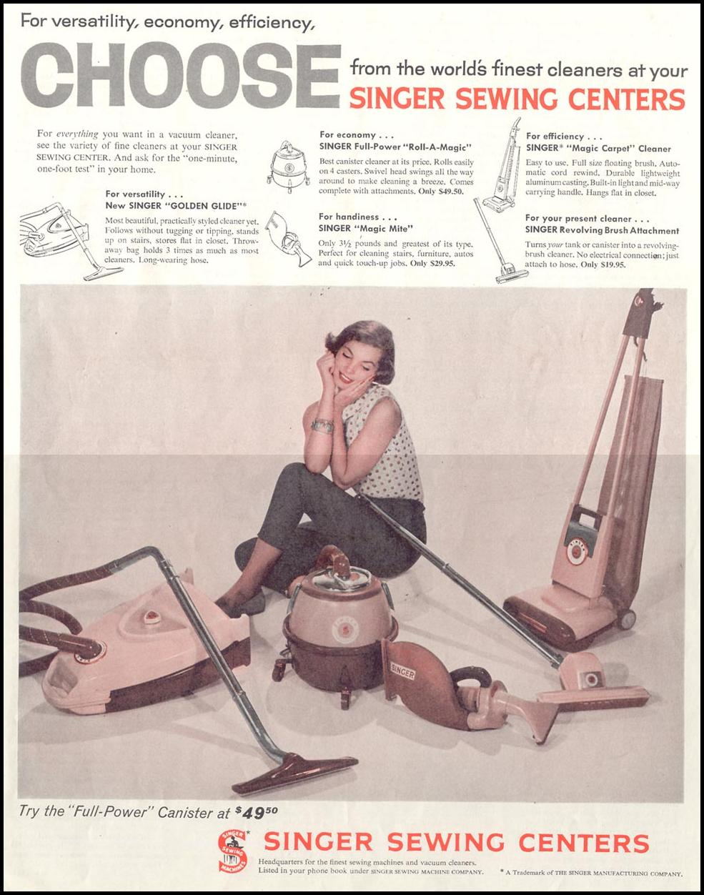 SINGER HOME APPLIANCES SATURDAY EVENING POST 05/02/1959 p. 101