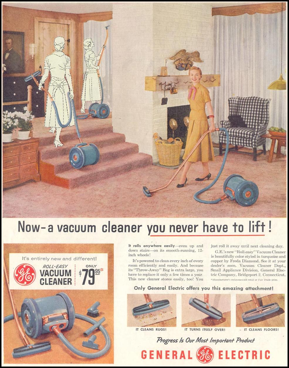G. E. ROLL-EASY VACUUM CLEANER SATURDAY EVENING POST 10/29/1955