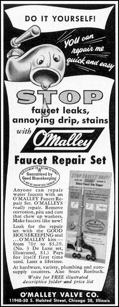 O'MALLEY FAUCET REPAIR SET SATURDAY EVENING POST 02/05/1955 p. 82