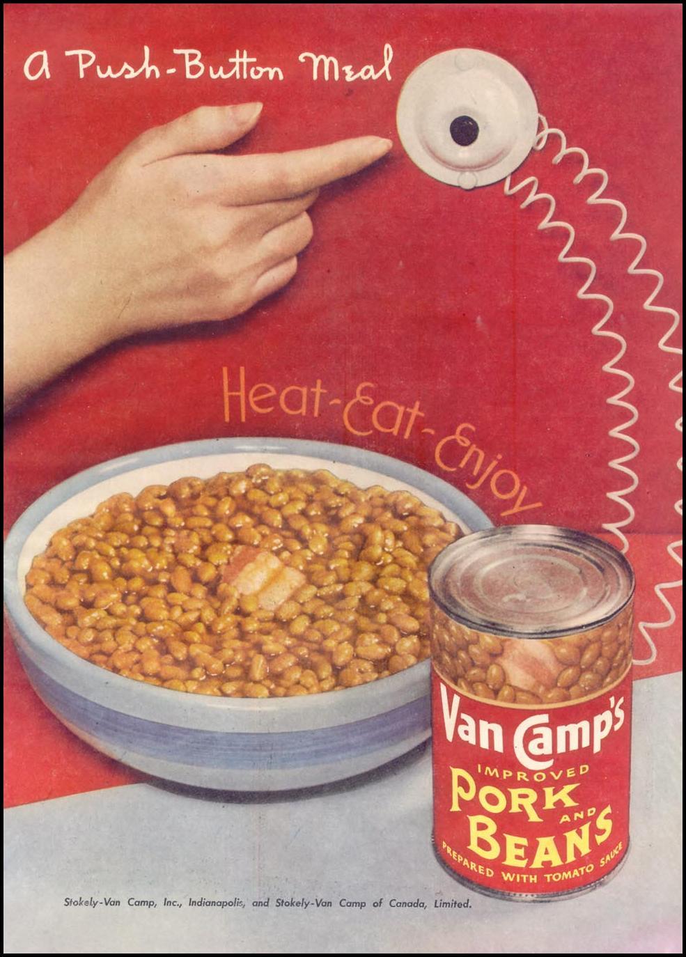 VAN CAMP'S PORK AND BEANS GOOD HOUSEKEEPING 07/01/1948 p. 135