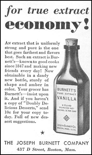 BURNETT'S PURE VANILLA EXTRACT GOOD HOUSEKEEPING 12/01/1933 p. 179