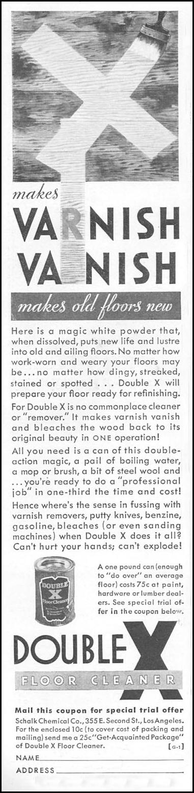 DOUBLE X FLOOR CLEANER GOOD HOUSEKEEPING 04/01/1936 p. 230
