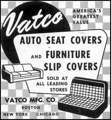 VATCO AUTO SEAT COVERS SATURDAY EVENING POST 02/05/1955 p. 74
