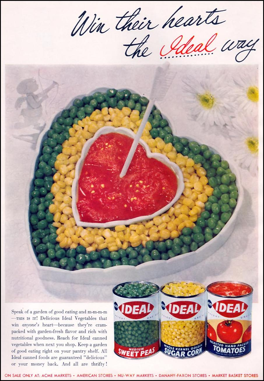 IDEAL BRAND CANNED VEGETABLES FAMILY CIRCLE 02/01/1957