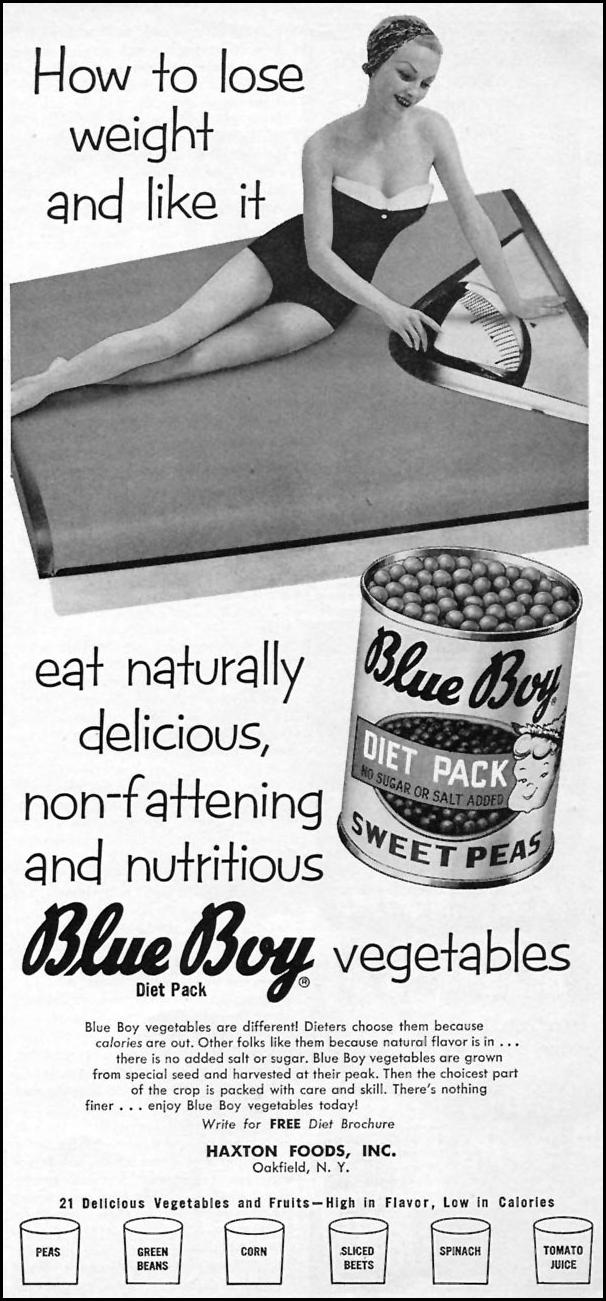 BLUE BOY DIET PACK VEGETABLES WOMAN'S DAY 10/01/1956 p. 143
