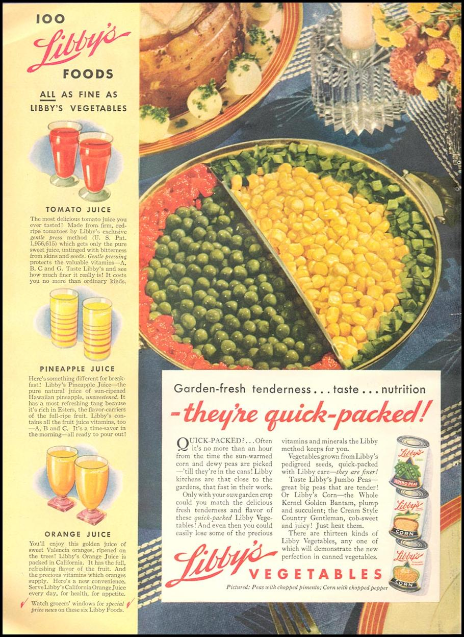 LIBBY'S VEGETABLES GOOD HOUSEKEEPING 04/01/1936