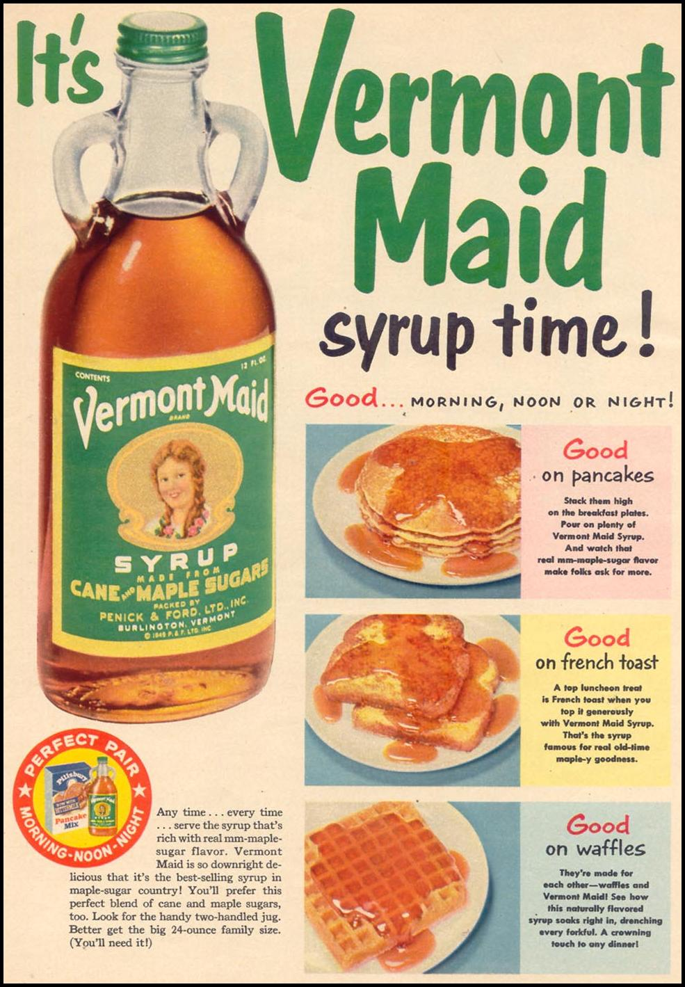 VERMONT MAID SYRUP WOMAN'S DAY 11/01/1955 p. 28