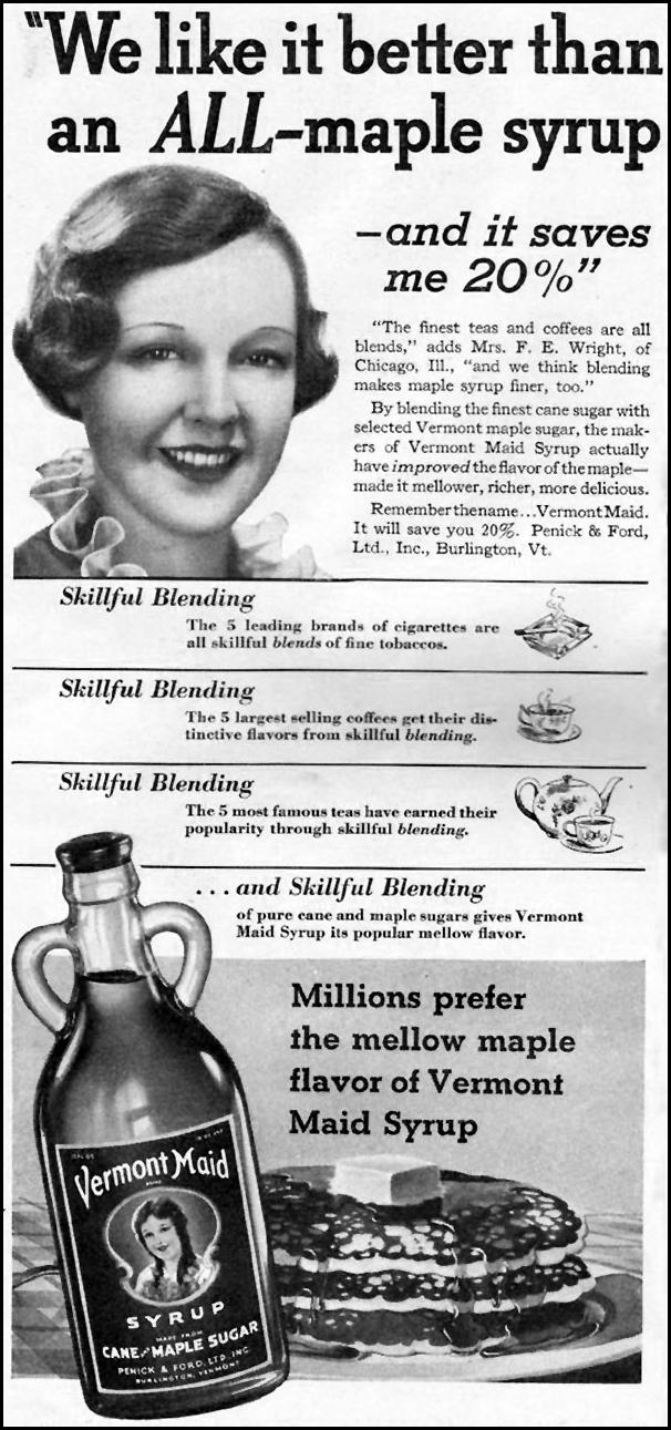 VERMONT MAID SYRUP GOOD HOUSEKEEPING 12/01/1935 p. 154