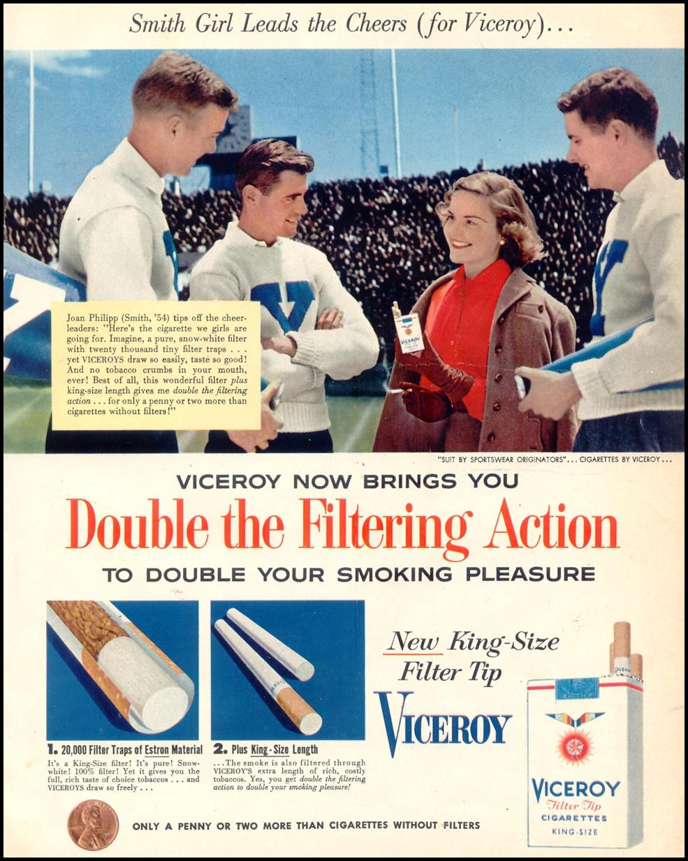 VICEROY CIGARETTES WOMAN'S DAY 10/01/1954 p. 23
