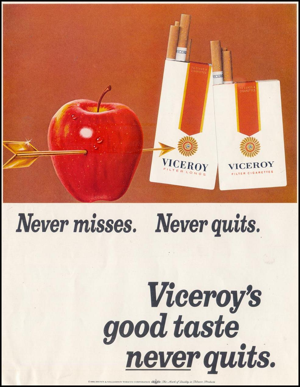 VICEROY CIGARETTES SATURDAY EVENING POST 12/28/1968 INSIDE FRONT
