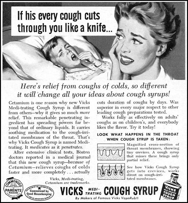 VICKS MEDI-TRATING COUGH SYRUP FAMILY CIRCLE 01/01/1956 p. 51