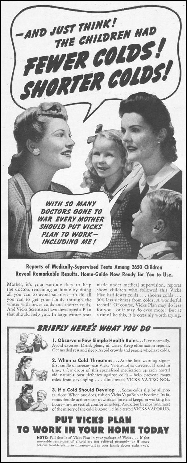VICKS COLD REMEDIES LIFE 10/25/1943 p. 20