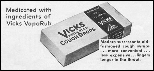 VICKS MEDICATED COUGH DROPS NEWSWEEK 11/09/1935 p. 38