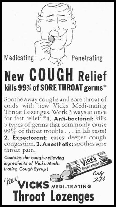 VICKS MEDI-TRATING THROAT LOZENGES SATURDAY EVENING POST 02/05/1955 p. 81