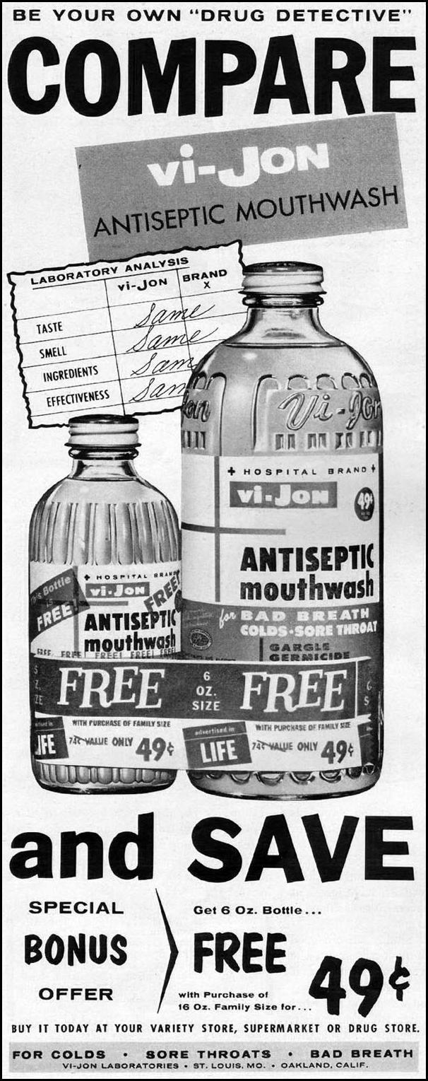 VI-JON ANTISEPTIC MOUTHWASH LIFE 10/05/1959 p. 20