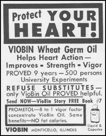 VIOBIN WHEAT GERM OIL SATURDAY EVENING POST 06/11/1960 p. 120