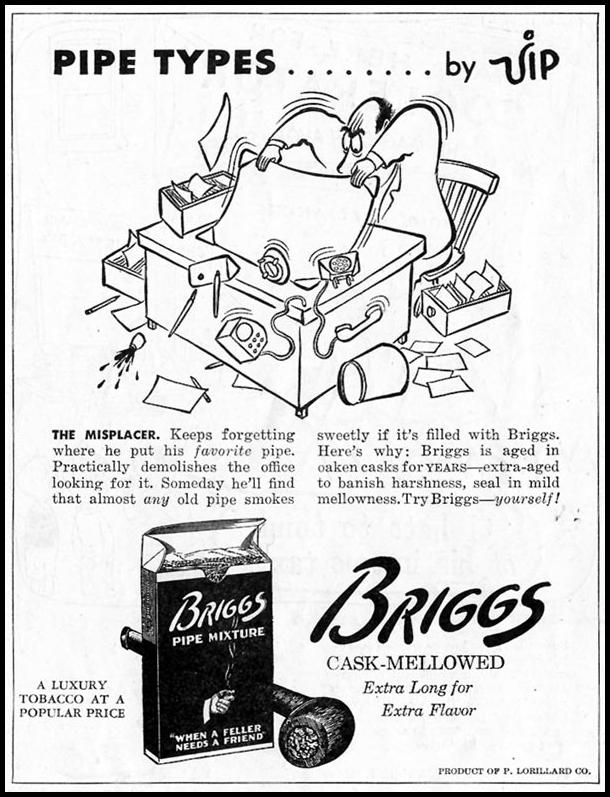 BRIGGS PIPE MIXTURE SATURDAY EVENING POST 10/06/1945 p. 76