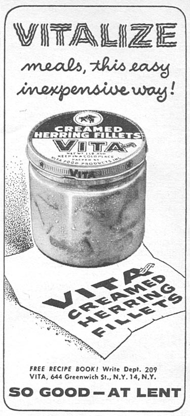 VITA BRAND CREAMED HERRING FILLETS WOMAN'S DAY 04/01/1956 p. 124