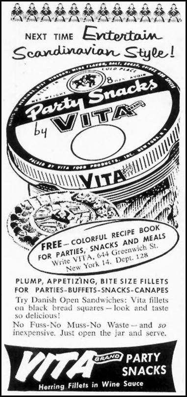 VITA HERRING FILLET PARTY SNACKS WOMAN'S DAY 07/01/1955 p. 96