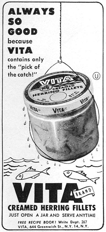 VITA CREAMED HERRING FILLETS WOMAN'S DAY 10/01/1956 p. 146