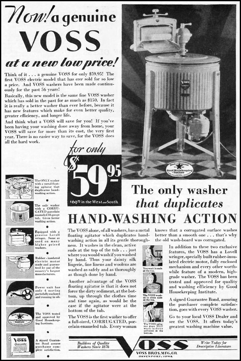 VOSS WASHING MACHINES BETTER HOMES AND GARDENS 03/01/1932 p. 49