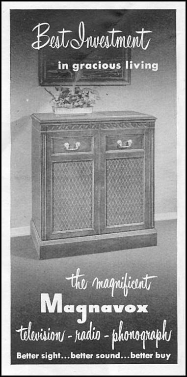 MAGNAVOX TELEVISION - RADIO - PHONOGRAPH COMBINATION NEWSWEEK 08/20/1951 p. 84