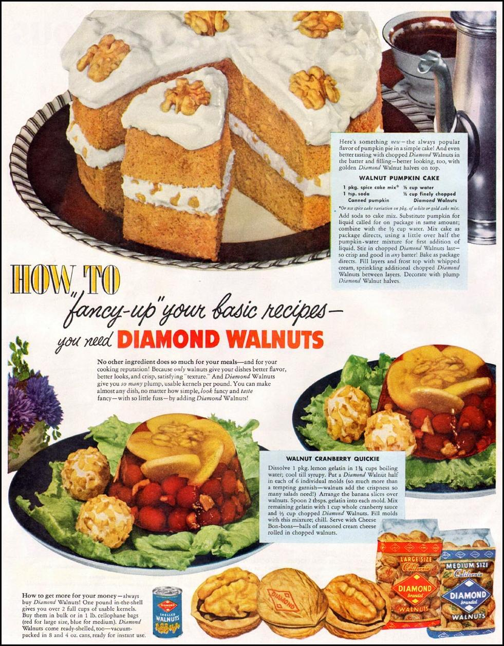 DIAMOND BRAND WALNUTS WOMAN'S HOME COMPANION 12/01/1952 p. 56