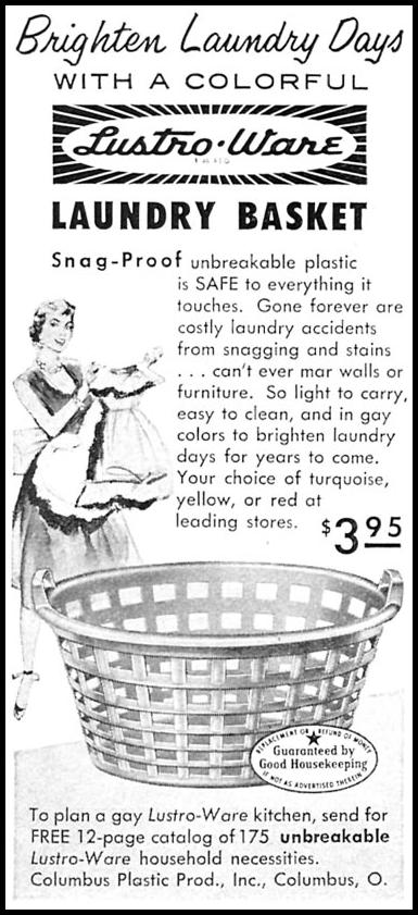 LUSTRO-WARE LAUNDRY BASKETS WOMAN'S DAY 10/01/1956 p. 120