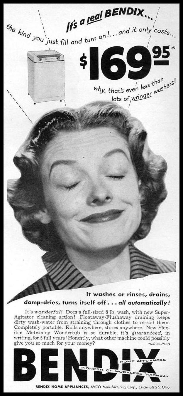 BENDIX AUTOMATIC WASHING MACHINES WOMAN'S DAY 02/01/1954 p. 13
