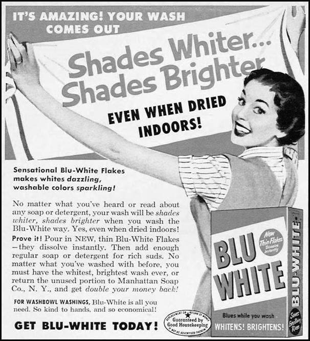 BLU-WHITE LAUNDRY SOAP WOMAN'S DAY 02/01/1954 p. 132