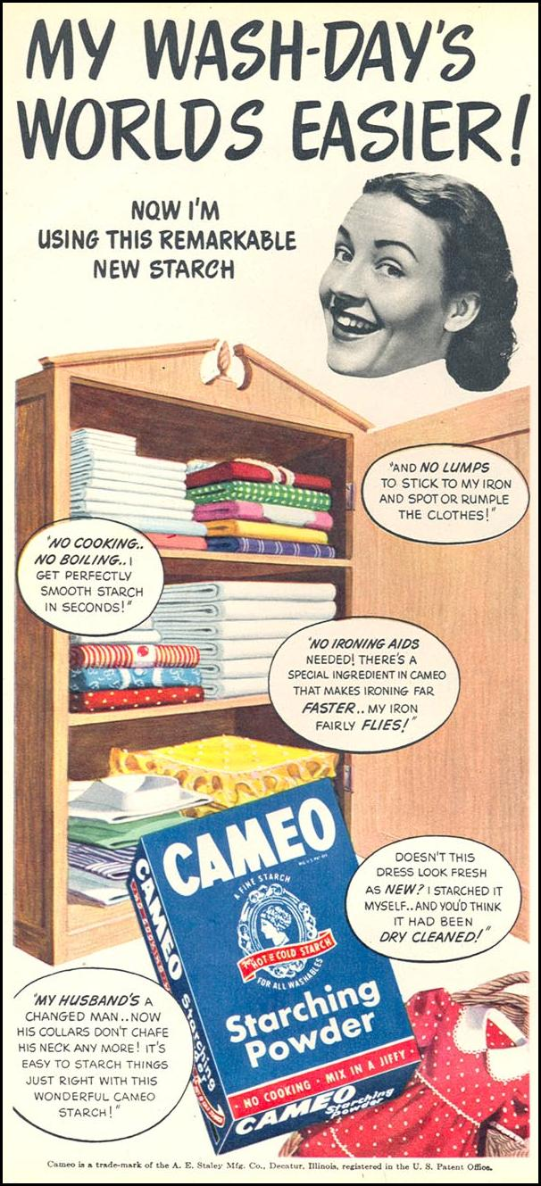 CAMEO STARCHING POWDER WOMAN'S DAY 05/01/1947 p. 20