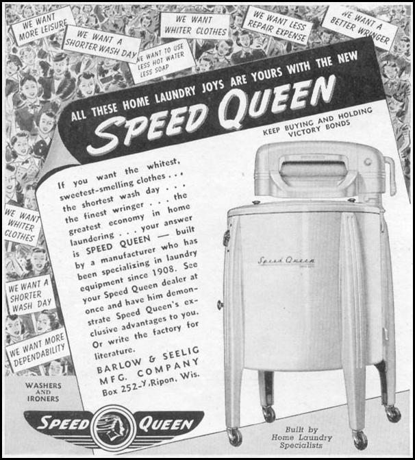 SPEED QUEEN WASHING MACHINE WOMAN'S DAY 11/01/1945 p. 96