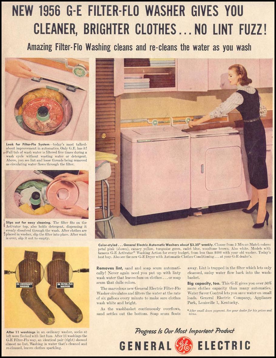 GENERAL ELECTRIC WASHING MACHINES LIFE 11/14/1955 p. 195