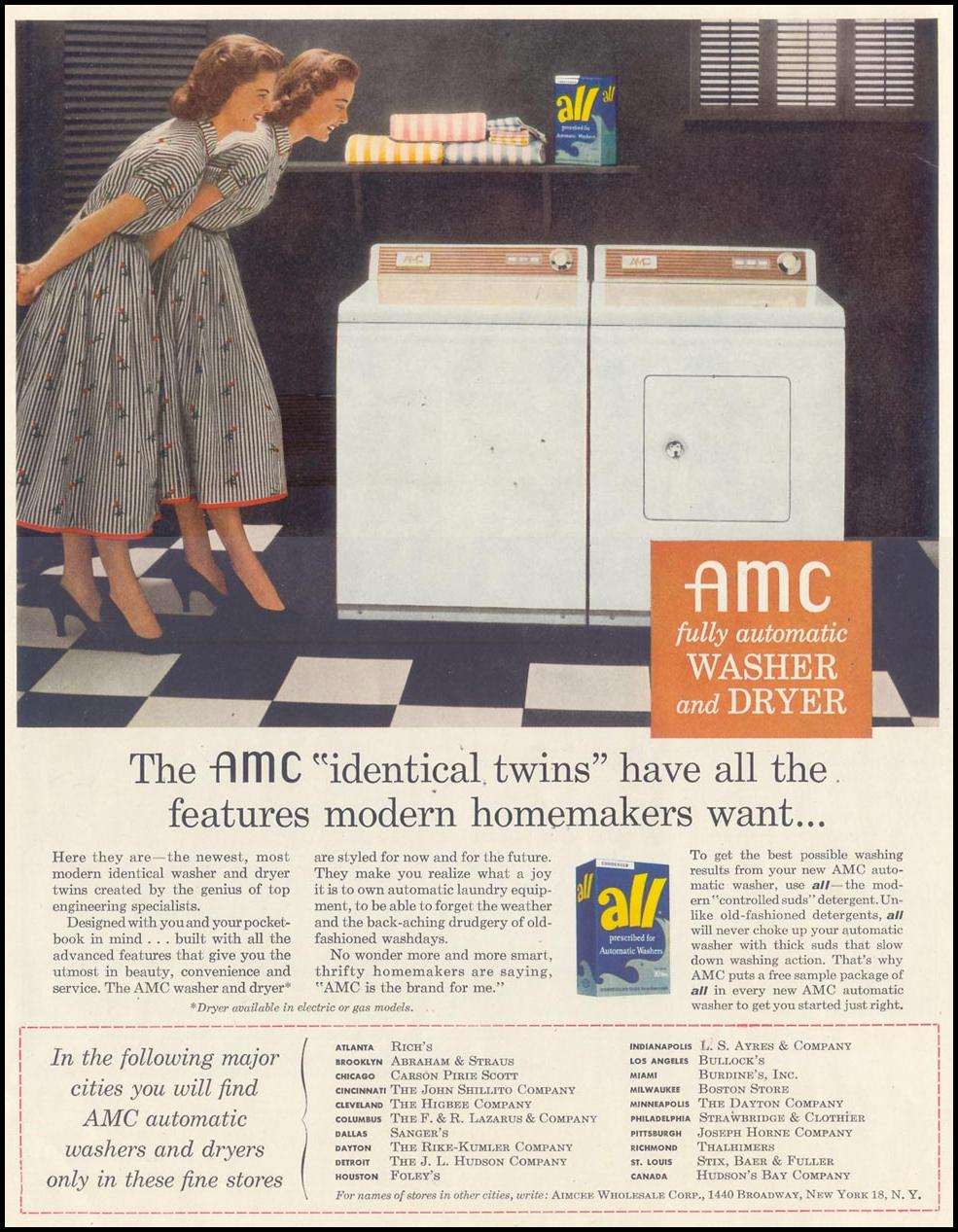 AMC WASHERS AND DRYERS SATURDAY EVENING POST 02/05/1955 INSIDE BACK