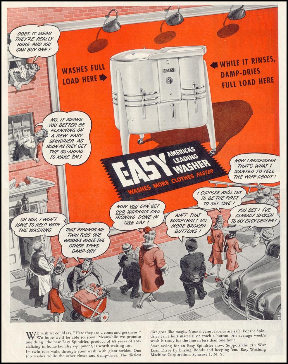 EASY SPINDRIER WASHING MACHINE SATURDAY EVENING POST 05/19/1945 p. 85