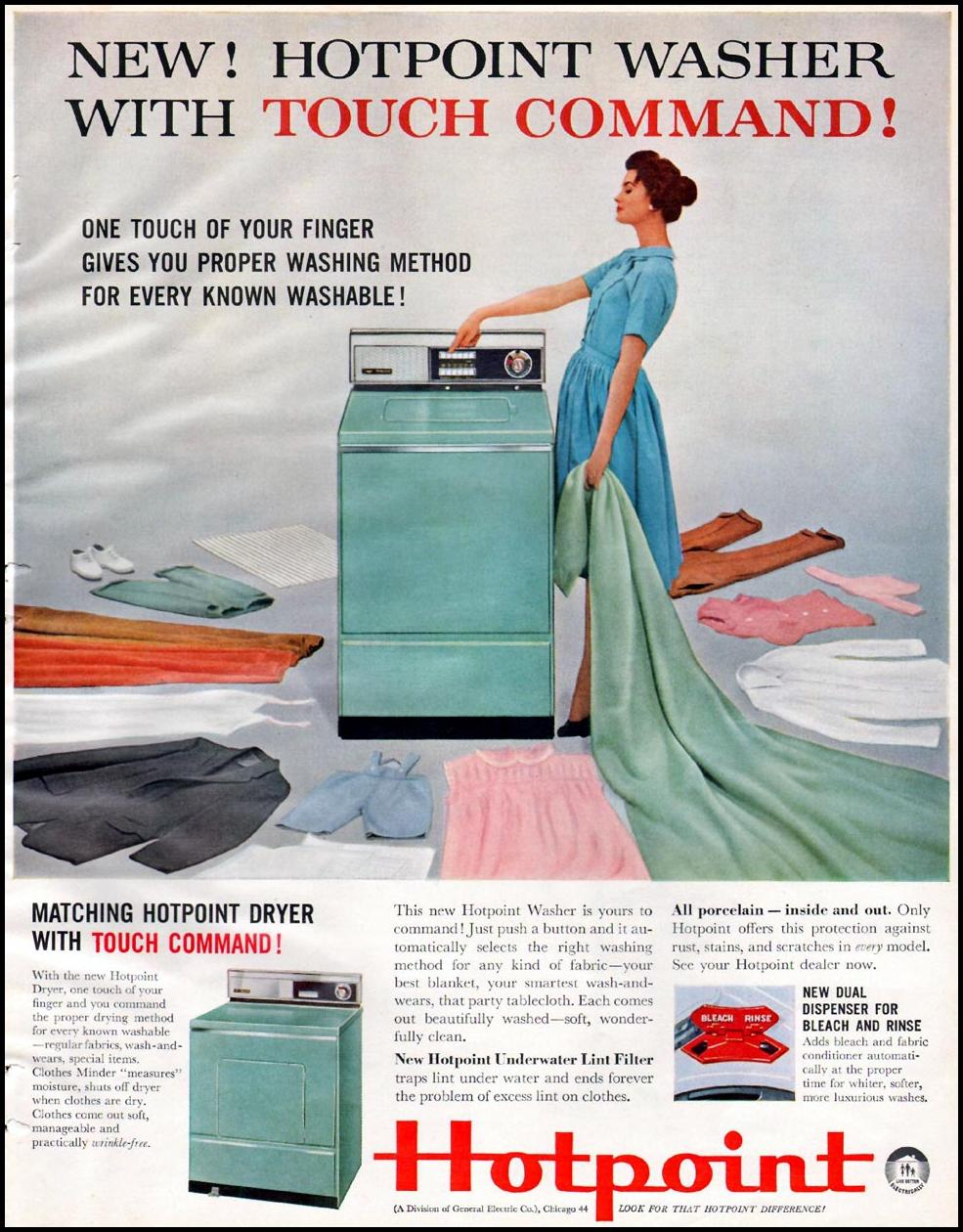 HOTPOINT WASHING MACHINES BETTER HOMES AND GARDENS 03/01/1960 p. 145